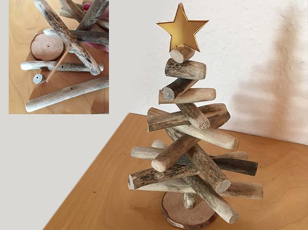 Weihnachtsbäumchen selbst basteln - Stäbe zusammenkleben