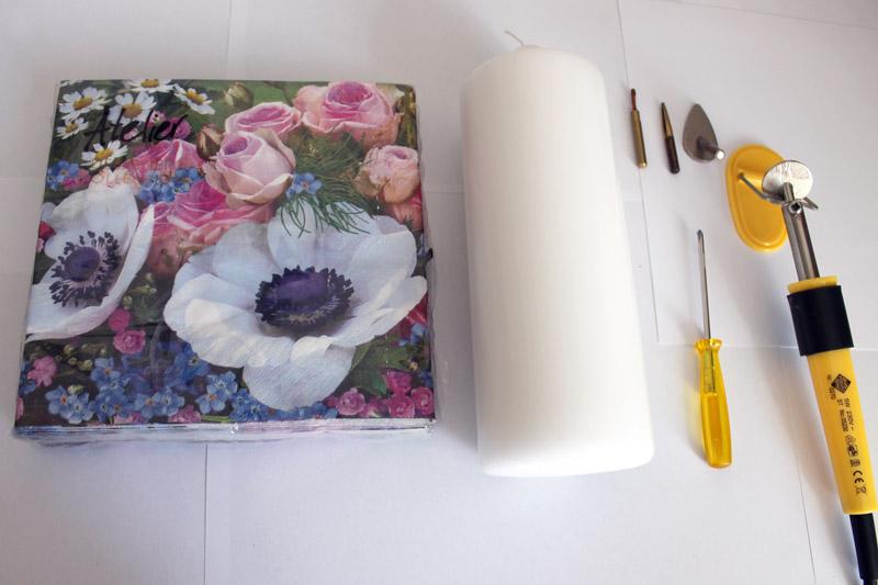 DIY Deko Kerzen mit Servietten verschönern