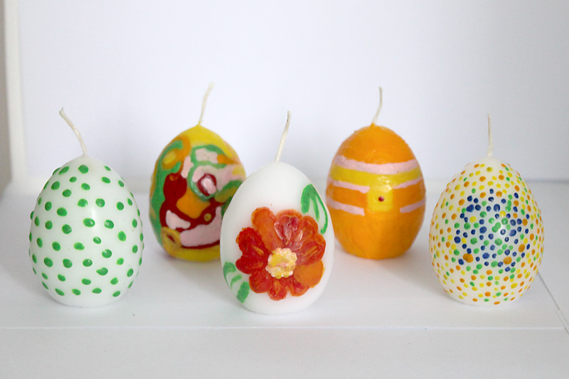 Easter decoration with Pebaro - Painted easter candles