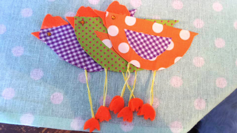 Spring Crafting - Colourful Fabric Birds