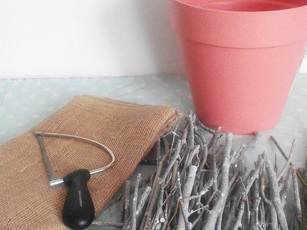Decorating a Flower Pot with Twigs