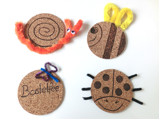 Finished decorated Cork Coasters following an Idea by Pebaro